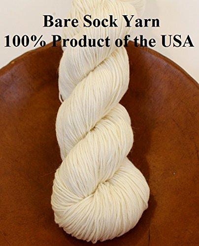 (Bare Fingering Sock Yarn 90/10 Superwash Merino Nylon Undyed Naked Ecru for Dyeing Knitting)