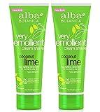 Alba Botanica Very Emollient Shave Cream Coconut Lime 8 oz (2-packs)