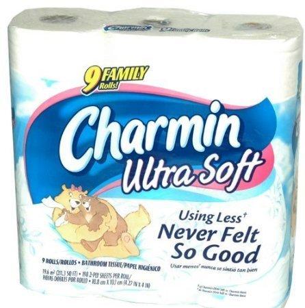 Soft Toilet Paper (Charmin Ultra Soft Bathroom Tissue 9 Family Rolls)