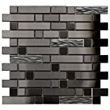 Black Stainless With Black Wave Glass Mosaic Tile - Kitchen Backsplash/Bath Backsplash/Wall Decor/Fireplace Surround
