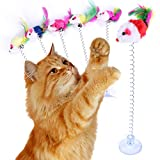 VOCOO 6pcs Retractable Cat Toys,Funny Cat Stick Including Cat Teaser Wand Interactive Feather Toy Fluffy Mouse Balls Catnip(Random Color)