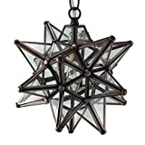 Moravian Star Pendant Light, Clear Glass, Bronze Frame, 9''