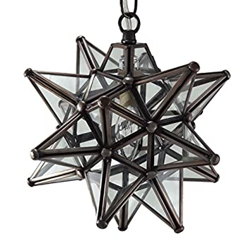 Amazoncom Moravian Star Pendant Light Clear Glass Bronze Frame