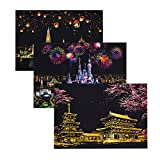 Healifty Scratch Art Picture Night View Scraping Painting World Sightseeing Paper DIY Craft Gifts 3 Pcs