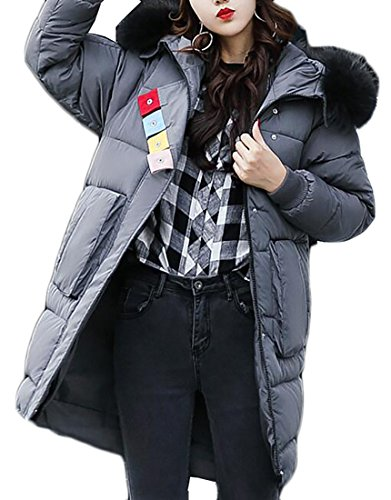 UK 3 Long Down Womens Winter Cotton Hooded Collar today Thicken Jacket Fur Slim Zipper SdwOaSqP