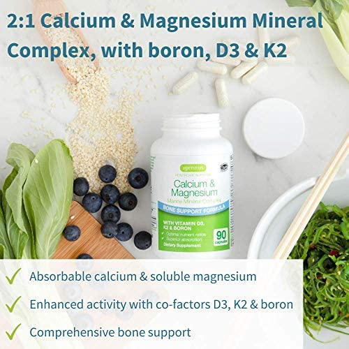 Calcium & Magnesium, 2:1 Plant Based Mineral Complex with Boron, Vitamin D3 & K2, High Absorption Bone Support Formula with Cofactors, Vegan, 90 Capsules, by Igennus 2
