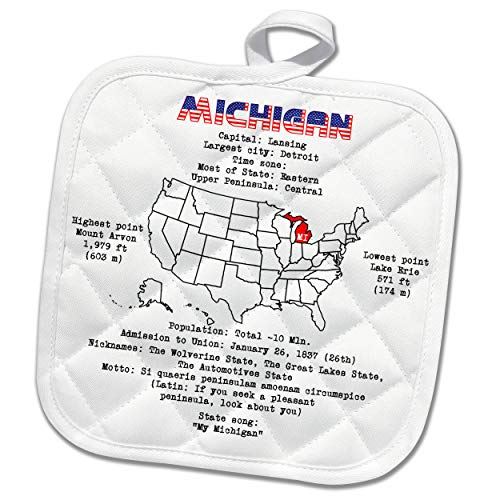 3dRose Alexis Design - American States - Michigan State of The USA, American map, Some Facts, Practical info - 8x8 Potholder (PHL_305625_1)