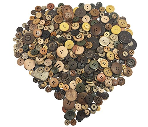 (levylisa Assortment Natural Round Buttons Brown Wood Coconut Shell Buttons Flatbacks Vintage Retro Round Wood Buttons for Craft/Sewing DIY Home Textile(Assorted Retro Color) )