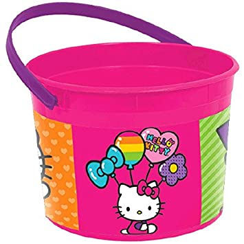 659d180ab Adorable Hello Kitty Rainbow® Birthday Party Favour Plastic Container (1  Piece), Pink/Purple, 4 1/2