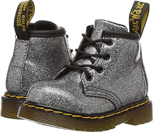Dr. Martens Kid's Collection Baby Girl's 1460 Patent Glitter Infant Brooklee Boot (Toddler) Gunmetal Coated Glitter 4 M UK -