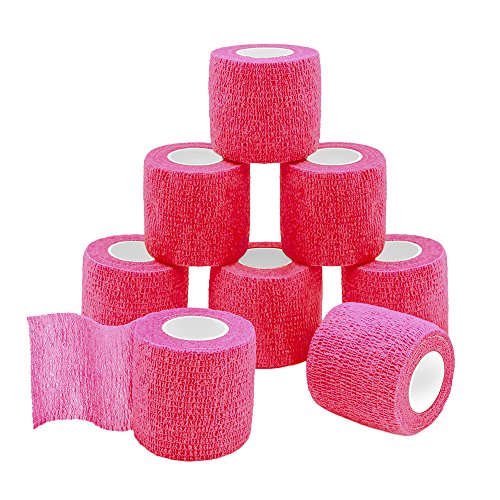 GooGou Self Adherent Wrap Bandages Self Adhering Cohesive Tape Elastic Athletic Sports Tape for Sports Sprain Swelling and Soreness on Wrist and Ankle 8PCS 2 in X 14.7 ft (pink) ()