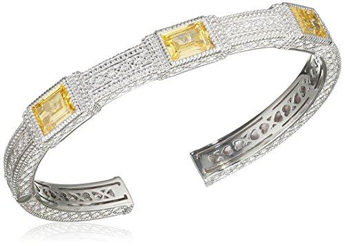 Judith Ripka Bracelet Manchette Acier Inoxydable Argent 925/1000 Zircon cubique Jaune Femme