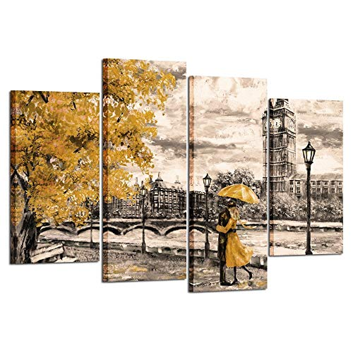 Kreative Arts 4pcs Canvas Prints Contemporary Wall Art Yellow Umbrella Couple in Street Big Ben Oil Painting Printed on Canvas Romantic Picture Framed Artwork Prints for Home Decor 48x33inch (Wall Yellow Art)
