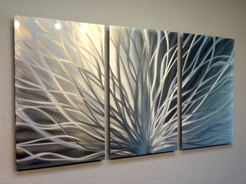 Metal Wall Art, Modern Home Decor, Abstract Wall Sculpture Contemporary- Radiant Silver (3 Panel- 47'' wide) by Miles Shay by Miles Shay