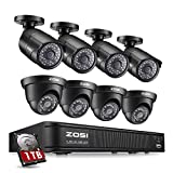 Cheap ZOSI 8-Channel HD-TVI 1080P Lite Video Security Camera System,4 in 1 CCTV DVR Recorder and (8) 1.0MP Indoor/Outdoor Day/Night Weatherproof Surveillance Cameras (1TB Hard Drive Built-in)