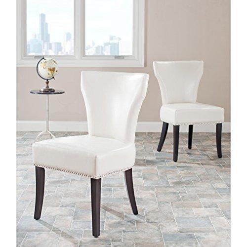Safavieh Mercer Collection Carter Cream Leather Dining Chair, Set of 2 -  MCR4706B-SET2