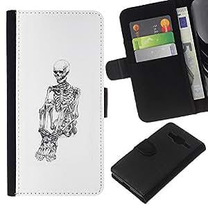 Be-Star la tarjeta de Crédito Slots PU Funda de cuero Monedero caso cubierta de piel Samsung Galaxy Core Prime ( White Skull Skeleton Depressed Black )