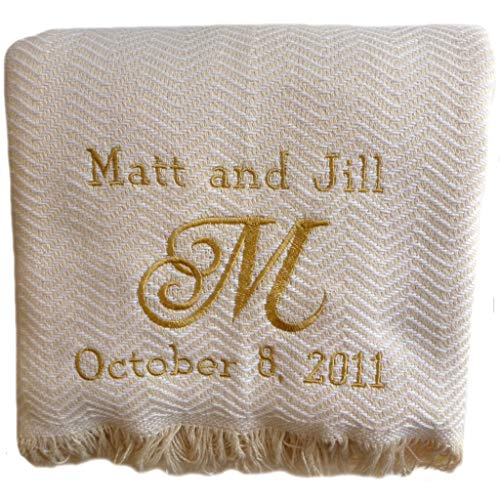 Custom Embroidered and Personalized Cotton Herringbone Throw Wedding Blanket