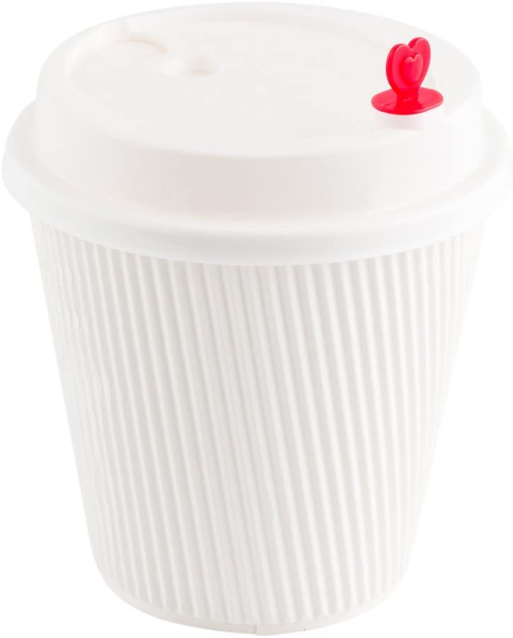"""White Plastic Coffee Cup Lid - Fits 8, 12 and 16 oz, with Red Heart Plug - 3 1/2"""" x 3 1/2"""" x 3/4"""" - 50 count box - Restaurantware"""