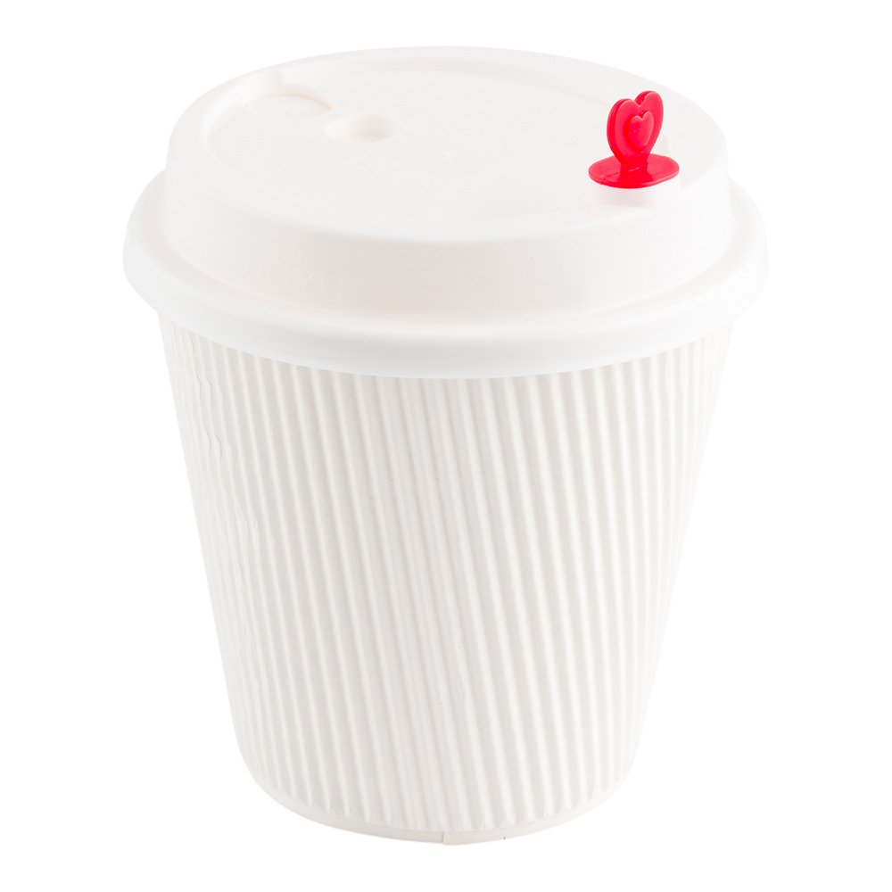 White with Heart Stopper 8 12 16 oz. 500-CT Disposable White Lid for Coffee and Tea Cups - Fits 8-OZ, 12-OZ and 16-OZ Cups  Perfect for Coffee Shops, Juice Shops, and Restaurant Takeout – Recyclable Polystyrene Cup Lid – Restaurantware
