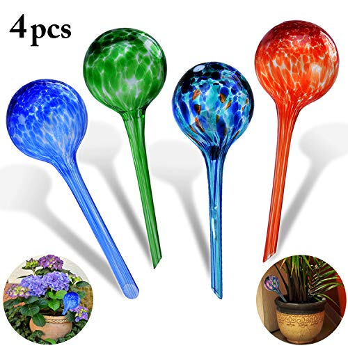 (Self-watering Bulbs, Fascigirl 4 pack Hand-blown Glass Plant Watering Device Aqua Globes Bulbs Self Automatic Watering System)