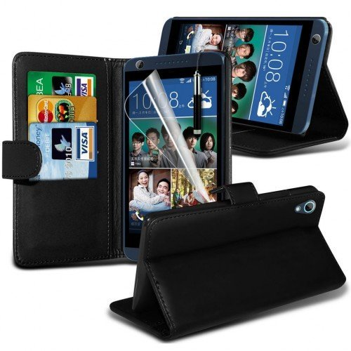 HTC Desire 626 Cubierta del caso con cuero (Negro) Plus de regalo libre, Protector de pantalla y un lápiz óptico, Solicitar ahora mejor caja del teléfono Valorado en Amazon! By FinestPhoneCases