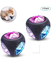 PEDOMUS Dog Ball Elastic Flash LED Ball Bounce-Activated Light Up Dog Ball Squeaker Ball Dog Toy Interactive Ball for Dogs(2 Pack)