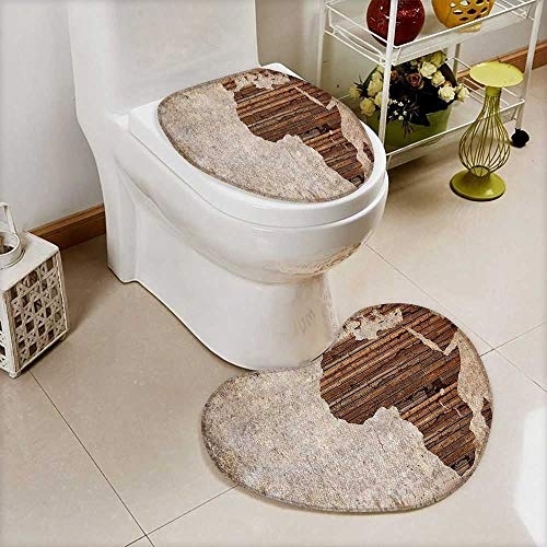 L-QN Cushion Non-Slip Toilet Mat Geography Theme Grunge Vintage Wooden Plank Africa Map Digital Print Tan Umber High Absorbency by L-QN