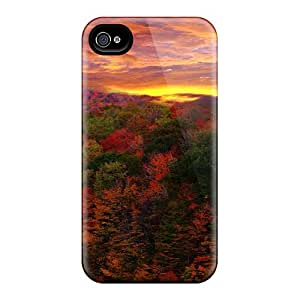 Hot Red Forest At Sunset First Grade Tpu Phone Case For Iphone 4/4s Case Cover