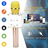 BONAOK Updated Wireless Karaoke Microphone,3-in-1 Gold Microphone Portable Built-in Bluetooth Speaker Machine for iPhone Apple Android PC and Smartphone