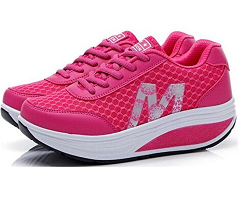 Lisyline Mujeres Mesh Slip-on Platform Shoes Fitness Work Out Sneaker Rose Red