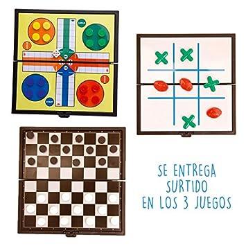 DISOK Lote de 20 Juegos Magnéticos Parchís y Tres en Raya. Juegos de Mesa, Juegos creativos Habilidades para Niños, niñas para Cumpleaños, Colegios, ...
