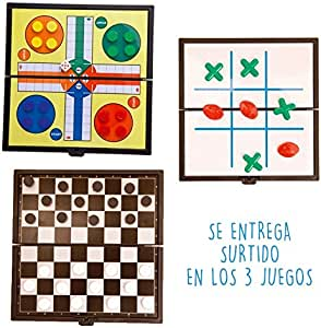 DISOK Lote de 20 Juegos Magnéticos Parchís y Tres en Raya. Juegos ...