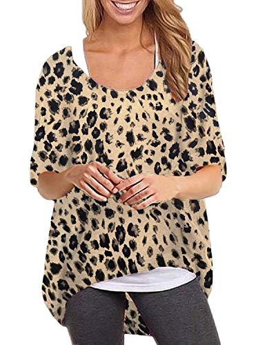 - ZANZEA Women's Batwing Long Sleeve Leopard Print Loose Oversized Baggy Tops Sweater Pullover Casual Blouse T-Shirt Leopard-Brown S