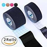 Kinesiology Tape Pro,Muscle Support Adhesive,Physio Therapeutic Recovery Sports Athletic Aid,Mytape,2 Uncut Rolls(2''W x 16.4'L / 1''W x 16.4'L, Black / Black)