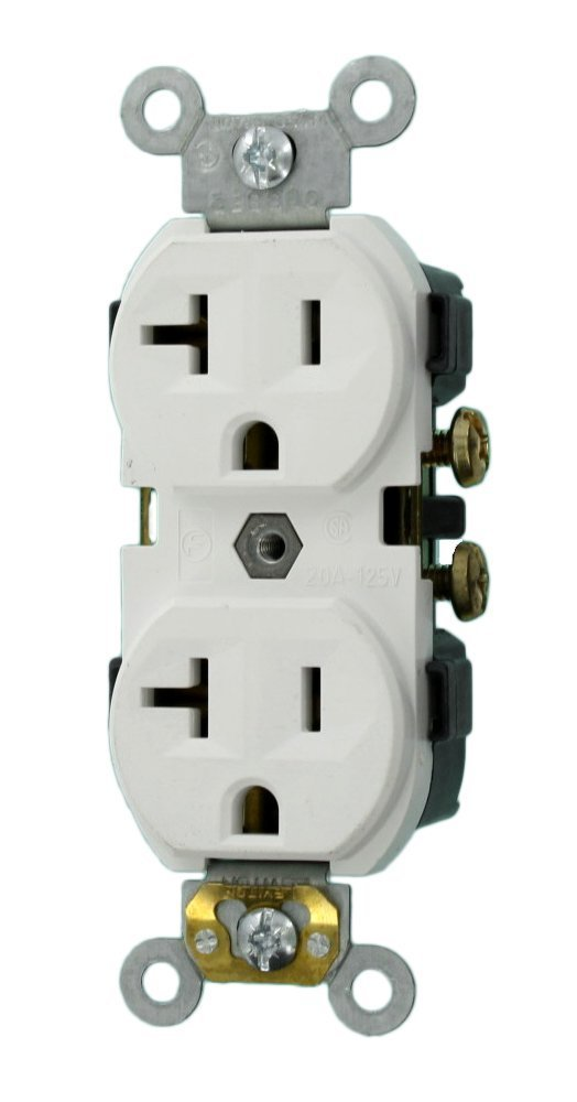 Leviton CR20-W 20-Amp, 125-Volt, Narrow Body Duplex Receptacle, Straight Blade, Commercial Grade, Self Grounding, 10-Pack, White