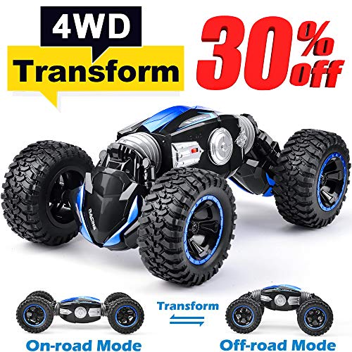 NQD RC Car Off-Road Vehicles Rock Crawler 2.4Ghz Remote Control Car Monster Truck 4WD Dual Motors Electric Racing Car, Kids Toys RTR Rechargeable Buggy Hobby Car Transform Car-Blue ()