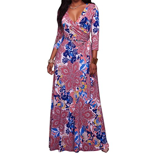 Long Dress,Caopixx Women Vintage Floral Long Sleeve Dress Bohemian Chiffon Wrap Boho Maxi Dresses (Asia Size L, Hot Pink) by Caopixx Dress