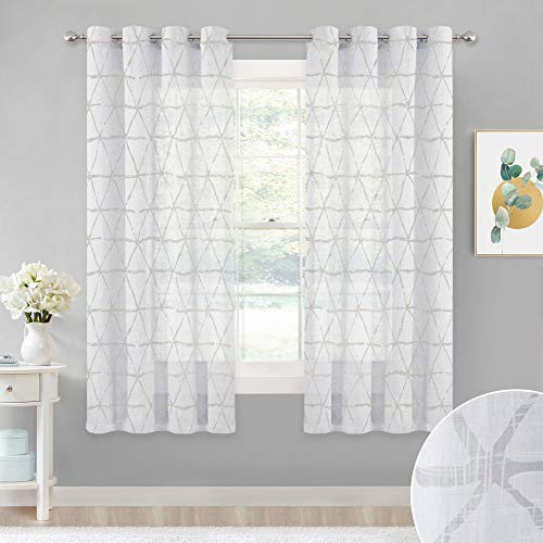 (StangH Sketched Triangle Pattern Sheer Curtains, Faux Linen Blend Textured Semi-Voile Panels, Air Through Privacy Enhancing Window Treatment Set for Bathroom, Chateau Gray, W52 x L63, One)