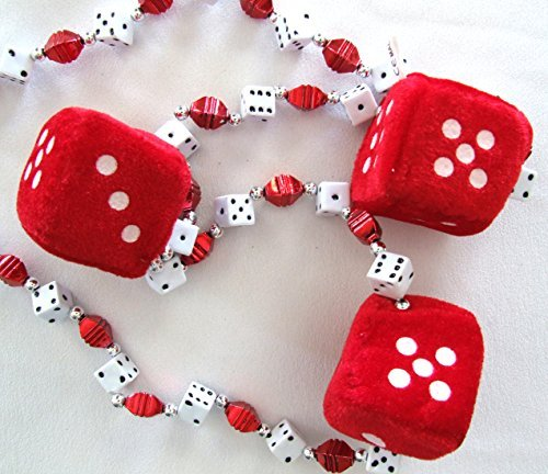 New Orleans Red Fuzzy Dice Craps Mardi Gras Beads Necklace (Dice Mardi Gras Beads)