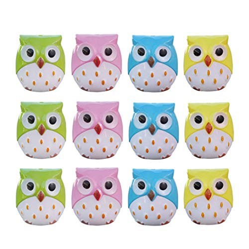 12Pcs Novelty Cartoon Animal Owl Pattern Two-Holes Pencil Sharpeners, Hatisan Creative Stationery Sharpener for Kids, Student, School, Classroom Use (Random Colors)
