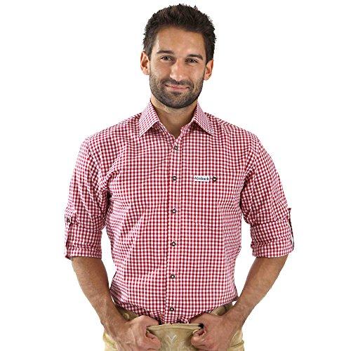 Almbock Trachten Hemd Sepp in rot karo - für Herren, , in den Größen S M L XL XXL 3XL, halbarm, für Oktoberfest, hochwertig,ausgefallen
