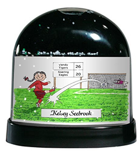 Printed Perfection Personalized Friendly Folks Snow Globe Gift: Soccer Player - Female Great for Soccer Player, Team, Trophy, Award
