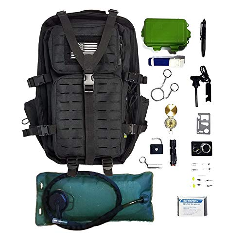 - Tactical Backpack + Hydration Bladder, Pre-Filled with Emergency Tools & Survival Gear
