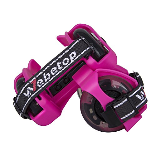 Webetop Kids Lighted Heel Skate Rollers Adjustable Two Wheels Skate Shoes Scooters,One Size Fits Most,60KG Weight Limited,with Portable Bag and Mini Wrench for Adjusting Size,Pink