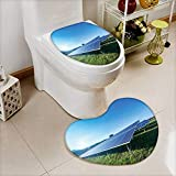 also easy 2 Piece Toilet mat set solar panel on blue sky background 2 Piece Heart shaped foot pad set
