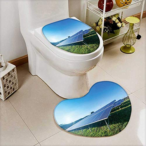also easy 2 Piece Toilet mat set solar panel on blue sky background 2 Piece Heart shaped foot pad set by also easy