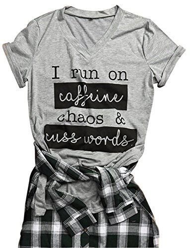 JINTING Women I Run on Caffeine Chaos Cuss Words Letters Printed Short Sleeve T-shirt size XXL (Grey)