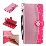 Amocase Strap Wallet Case with 2 in 1 Stylus for iPhone X,3D Diamond Crown Color Block Premium Beaded Magnetic PU Leather Stand Clear Slicone Back Case for iPhone X/XS 5.8 inch - Rose Gold Rose