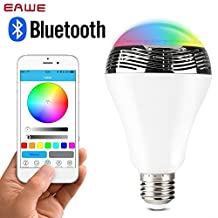 EAWE 9W RGB Bluetooth LED Light Bulb Color Changing Audio Mini Speaker & Music Player Bulb With Bluetooth Devices E27 Controlled Color Changing Lights for iPhone, iPad, Android Phone and Tablet